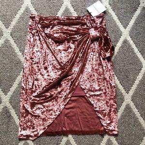NEW Glamorous Crushed Velvet draped skirt Large
